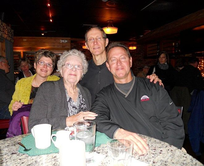 From left to right: my wife Mary, my mother Irene, me, and my brother Tom